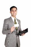 Indian business man holding a name card. stock photography