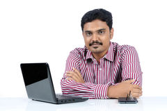 Indian business man with Laptop Stock Photos