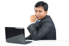 Indian Business Man with Laptop Stock Images