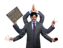 Indian business man with multy hands Stock Image