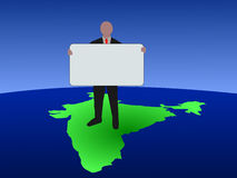 Indian business man with sign Royalty Free Stock Photography