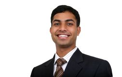 Indian business man smiling. Indian business man smiling with. Clipping path available Stock Photo