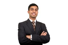 Indian business man smiling. Clipping path available Royalty Free Stock Images