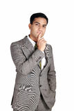 Indian business man in thinking pose Royalty Free Stock Images