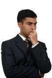 Indian business man thinking1. Indian business man in thinking pose (1) with clipping path Royalty Free Stock Photography