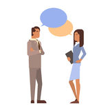 Indian Business Man Woman With Chat Bubble Communication Businesspeople Discussion. Flat Vector Illustration vector illustration