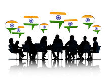 Indian Business People Talking And Discussing Stock Photo