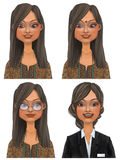 Indian Business Woman avatar set Royalty Free Stock Photos