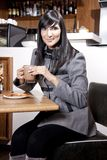 Indian Business woman at the coffeeshop Royalty Free Stock Image