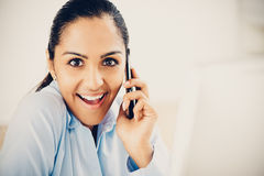 Indian business woman mobile phone excited Stock Photography
