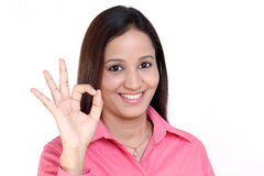 Indian Business woman with ok sign Royalty Free Stock Photo