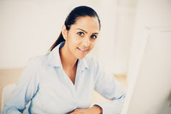 Indian business woman pretty smiling office Royalty Free Stock Photography