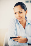 Indian business woman pretty smiling office Stock Photos