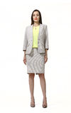 Indian business woman with straight hair style. In official gray skirt suit high heel shoes full body length isolated on white stock image