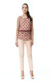 Indian business woman with straight hair style. Woman with straight hair style in summer print blouse and trousers high heel shoes full body length isolated on royalty free stock photography
