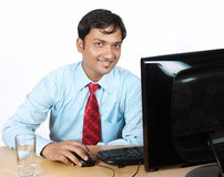 Indian Businessman With Computer Stock Images