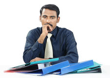 Indian Businessman with Files Stock Images