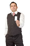 Indian businessman giving a businesscard Royalty Free Stock Photo