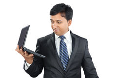 Indian Businessman with Laptop Royalty Free Stock Photos