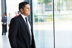 Indian businessman window Royalty Free Stock Images