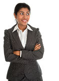 Indian businesswoman hands folded looking side. Stock Image
