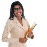 Indian businesswoman holding office file document. Royalty Free Stock Photography