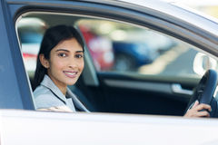 Indian businesswoman inside car Royalty Free Stock Image