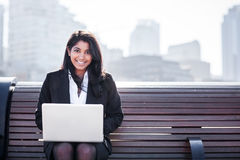 Indian businesswoman with laptop Royalty Free Stock Photo