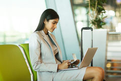 Indian businesswoman laptop computer Stock Image