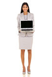 Indian businesswoman presenting laptop Royalty Free Stock Image