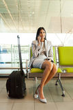 Indian businesswoman talking cell phone Royalty Free Stock Photography