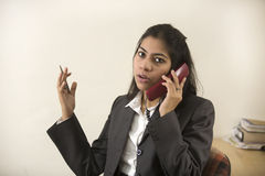 Indian businesswoman talking on telephone Stock Images