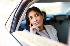 Indian businesswoman taxi Royalty Free Stock Photo