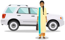 Indian businesswoman in traditional national clothes standing near the car on white background in flat style. Business stock image