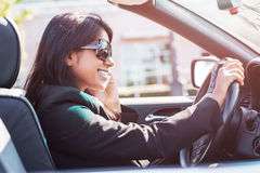 Indian busineswoman driving car Royalty Free Stock Photos
