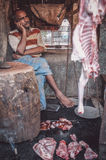 Indian butcher Stock Images