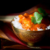 Indian Butter Chicken. Bowl of spicy indian butter chicken in white basmati rice Stock Photography