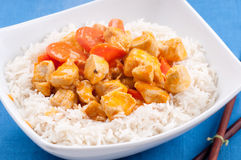Indian butter chicken with carrots  over white rice Stock Photos