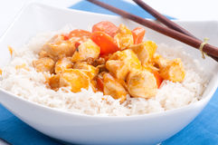 Indian butter chicken with carrots  over white rice Stock Photo