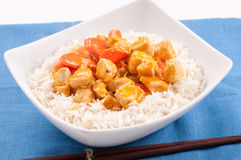Indian butter chicken with carrots  over white rice Stock Images