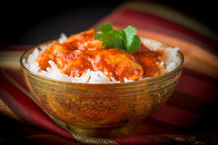 Indian Butter Chicken Closeup. Delicious Indian butter chicken served with basmati rice Royalty Free Stock Photography
