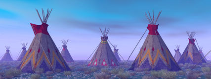 Indian camp at dawn. Computer generated 3D illustration with an indian camp at dawn stock illustration