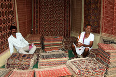 Indian carpet vendor Royalty Free Stock Photography