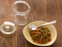 Indian carrot and bean pickle stock photography