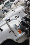 Indian cars. Line of typical white cars in India, mostly driven by state officials Stock Photography