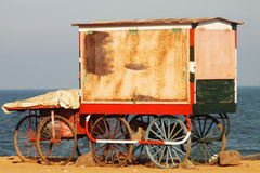 Indian cart on the beach. In Pondicherry Stock Photo
