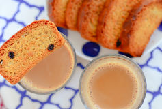 Indian chai -tea and toast. Indian chai tea and toast royalty free stock image