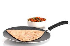 Indian Chapathi. Hot Indian Chapathi on a cooking pan Royalty Free Stock Photography