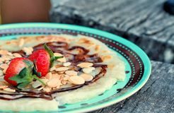 Indian Chapati Breads or roti dough and strawberry fruit. Royalty Free Stock Photo