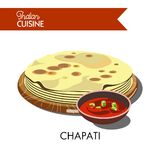 Indian chapati with hot sauce isolated cartoon illustration Royalty Free Stock Photography